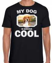 Beagle honden t shirt my dog is serious cool zwart voor heren
