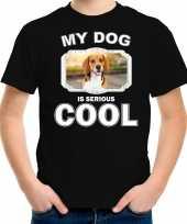 Beagle honden t shirt my dog is serious cool zwart voor kinderen
