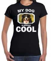 Berner sennen honden t shirt my dog is serious cool zwart voor dames