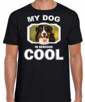 Berner sennen honden t shirt my dog is serious cool zwart voor heren