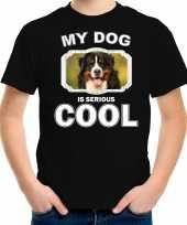 Berner sennen honden t shirt my dog is serious cool zwart voor kinderen