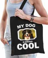 Berner sennen honden tasje zwart volwassenen en kinderen my dog serious is cool kado boodschappent