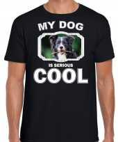 Border collie honden t shirt my dog is serious cool zwart voor heren