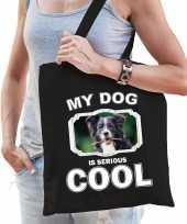 Border collie honden tasje zwart volwassenen en kinderen my dog serious is cool kado boodschappen