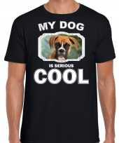 Boxer honden t shirt my dog is serious cool zwart voor heren
