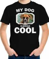 Boxer honden t shirt my dog is serious cool zwart voor kinderen