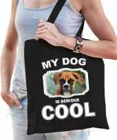 Boxer honden tasje zwart volwassenen en kinderen my dog serious is cool kado boodschappentasje