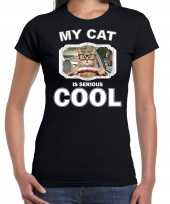 Brildragende rijdende kat katten poezen t-shirt my cat is serious cool zwart voor dames