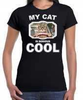 Brildragende rijdende kat katten poezen t shirt my cat is serious cool zwart voor dames