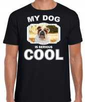 Britse bulldog honden t shirt my dog is serious cool zwart voor heren 10254014