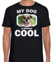 Britse bulldog honden t shirt my dog is serious cool zwart voor heren