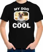 Britse bulldog honden t-shirt my dog is serious cool zwart voor kinderen 10256730