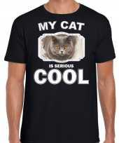 Britse korthaar katten poezen t shirt my cat is serious cool zwart voor heren