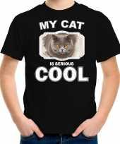 Britse korthaar katten poezen t shirt my cat is serious cool zwart voor kinderen
