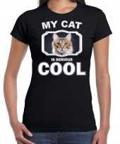 Bruine kat katten poezen t-shirt my cat is serious cool zwart voor dames 10257910