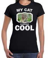 Bruine kat katten poezen t shirt my cat is serious cool zwart voor dames