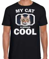 Bruine kat katten poezen t-shirt my cat is serious cool zwart voor heren 10257907