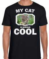 Bruine kat katten poezen t shirt my cat is serious cool zwart voor heren