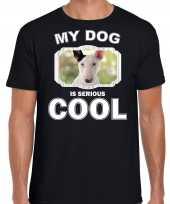 Bullterrier honden t shirt my dog is serious cool zwart voor heren