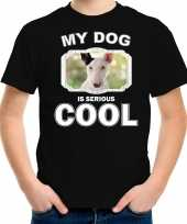 Bullterrier honden t shirt my dog is serious cool zwart voor kinderen