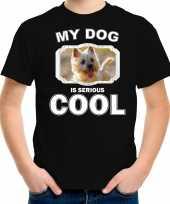 Cairn terrier honden t shirt my dog is serious cool zwart voor kinderen