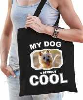 Cairn terrier honden tasje zwart volwassenen en kinderen my dog serious is cool kado boodschappent