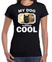 Cairn terriers honden t shirt my dog is serious cool zwart voor dames