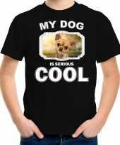 Chihuahua honden t shirt my dog is serious cool zwart voor kinderen