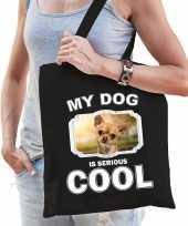 Chihuahua honden tasje zwart volwassenen en kinderen my dog serious is cool kado boodschappentasje 10246576