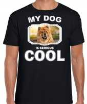 Chow chow honden t shirt my dog is serious cool zwart voor heren 10254019