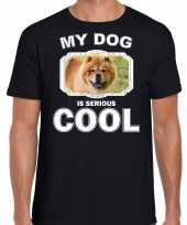 Chow chow honden t shirt my dog is serious cool zwart voor heren