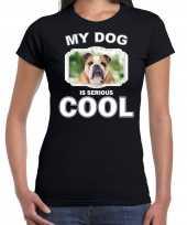 Coole britse bulldogs honden t shirt my dog is serious cool zwart voor dames