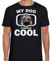 Coole mopshond honden t shirt my dog is serious cool zwart voor heren