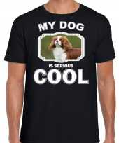 Coole spaniel honden t shirt my dog is serious cool zwart voor heren