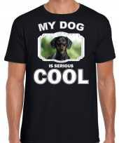 Coole teckel honden t shirt my dog is serious cool zwart voor heren