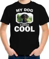 Coole teckel honden t shirt my dog is serious cool zwart voor kinderen