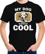 Dalmatier honden t shirt my dog is serious cool zwart voor kinderen