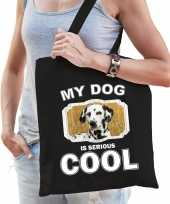 Dalmatier honden tasje zwart volwassenen en kinderen my dog serious is cool kado boodschappentasje