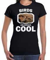 Dieren appelvink vogel t shirt zwart dames birds are cool shirt