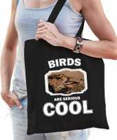 Dieren appelvink vogel tasje zwart volwassenen en kinderen birds are cool cadeau boodschappentasje