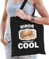 Dieren baardmannetje vogel tasje zwart volwassenen en kinderen birds are cool cadeau boodschappent
