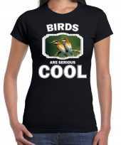 Dieren bijeneter vogel t shirt zwart dames birds are cool shirt