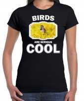 Dieren blauwborst vogel t shirt zwart dames birds are cool shirt
