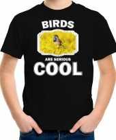 Dieren blauwborst vogel t shirt zwart kinderen birds are cool shirt jongens en meisjes