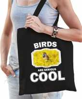 Dieren blauwborst vogel tasje zwart volwassenen en kinderen birds are cool cadeau boodschappentasj