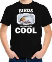 Dieren boomklever vogel t shirt zwart kinderen birds are cool shirt jongens en meisjes