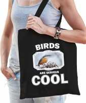 Dieren boomklever vogel tasje zwart volwassenen en kinderen birds are cool cadeau boodschappentasj