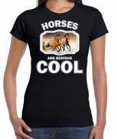 Dieren bruin paard t shirt zwart dames horses are cool shirt