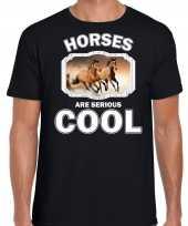 Dieren bruin paard t shirt zwart heren horses are cool shirt