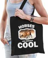 Dieren bruin paard tasje zwart volwassenen en kinderen horses are cool cadeau boodschappentasje
